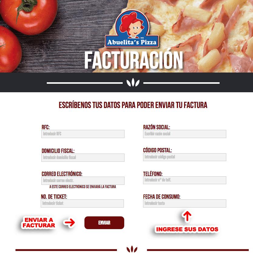 Abuelitas Pizza Paso 1  Captura de datos