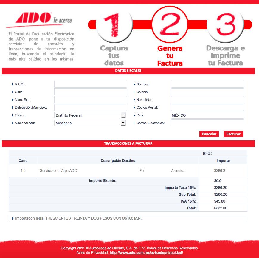 ADO Paso 2  Capture sus datos fiscales y un correo.