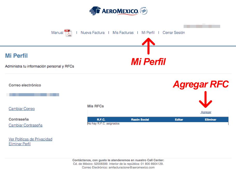 Aeromexico  Paso 2 – Ingresar al Sistema y Capturar RFC