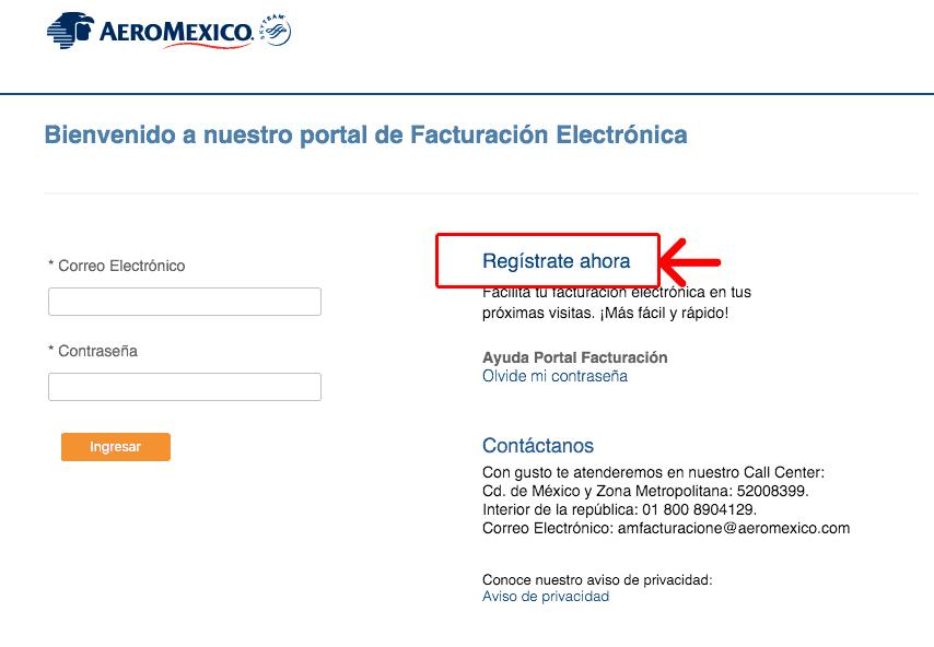 Aeromexico  Paso 1 – Registrarse en el Sistema