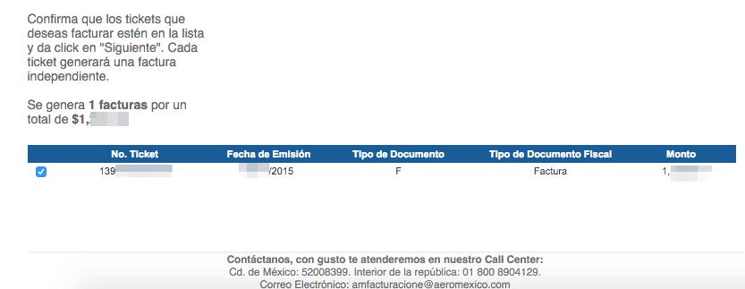 Aeromexico  Paso 3 – Captura los datos del ticket