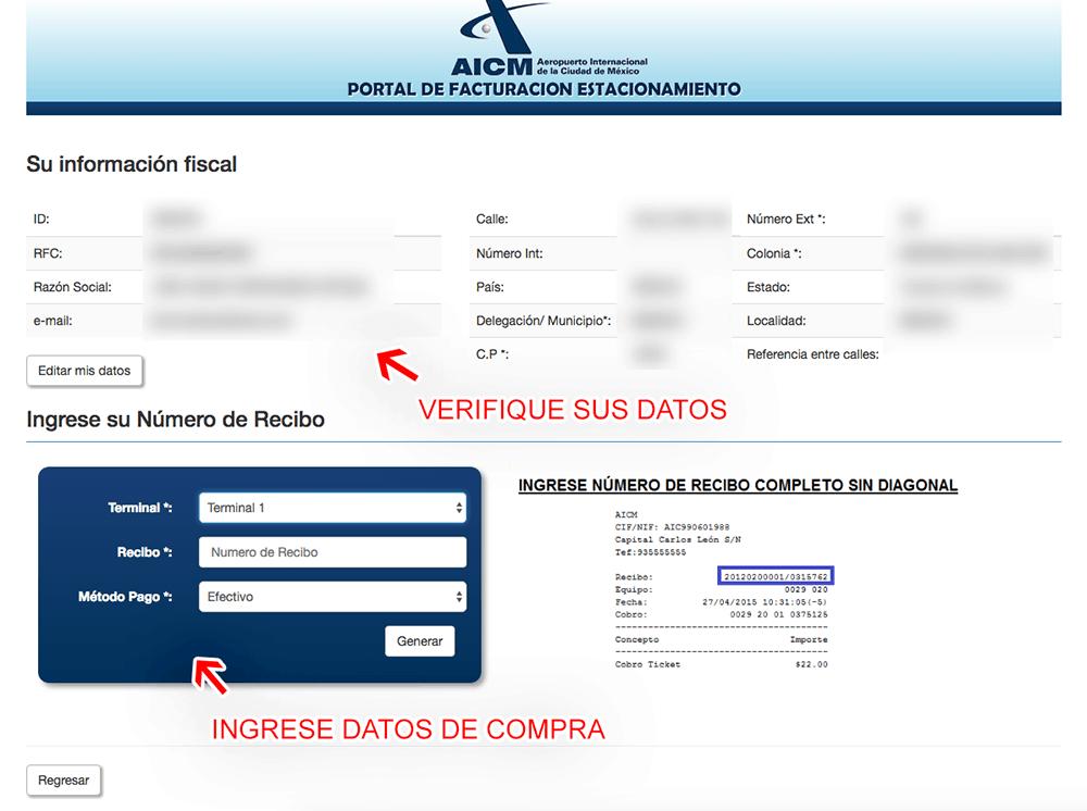 AICM Estacionamiento Aeropuerto CDMX Paso 2  Capture sus datos