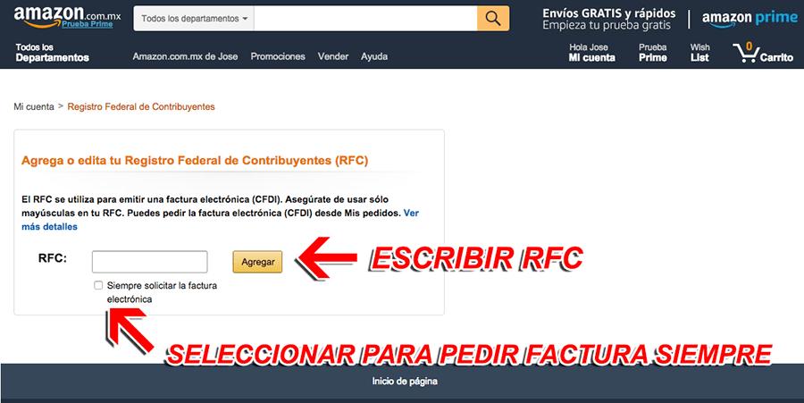 Amazon Paso 2  Captura de RFC