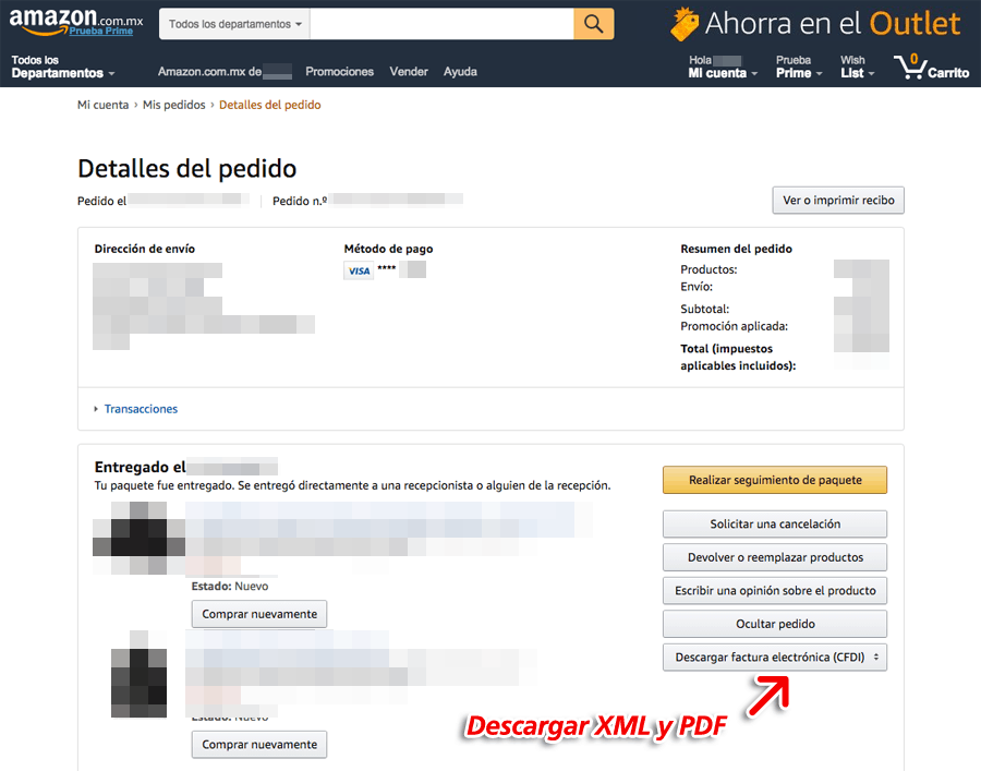 Amazon Paso 3  Descarga de factura