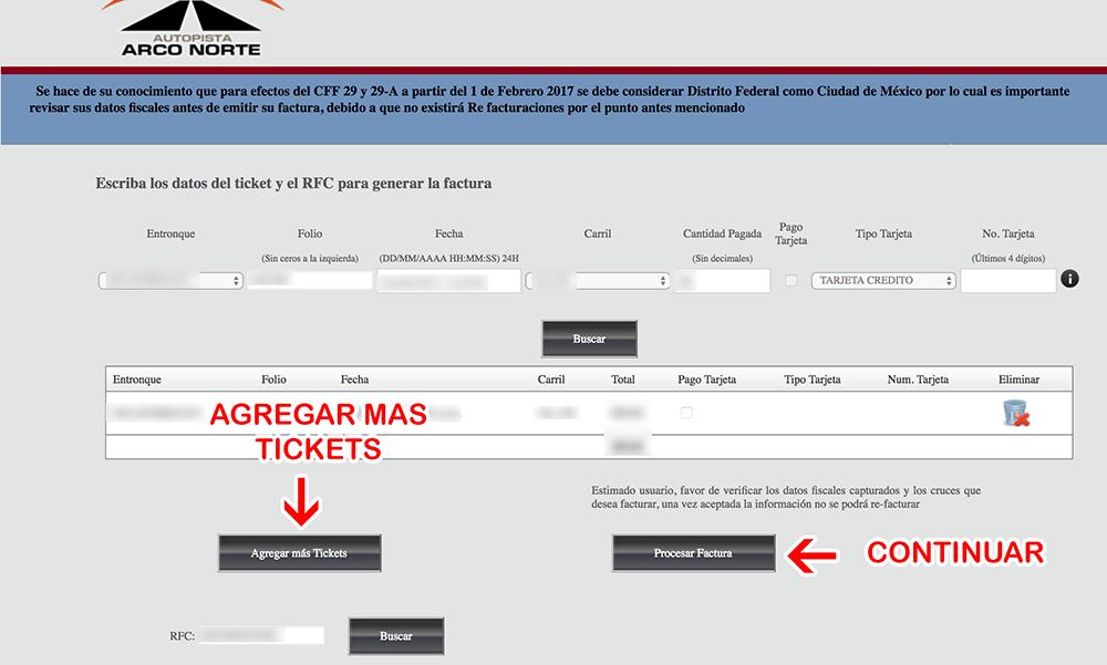 Autopista Arco Norte Paso 2  Captura de RFC y verificación de datos