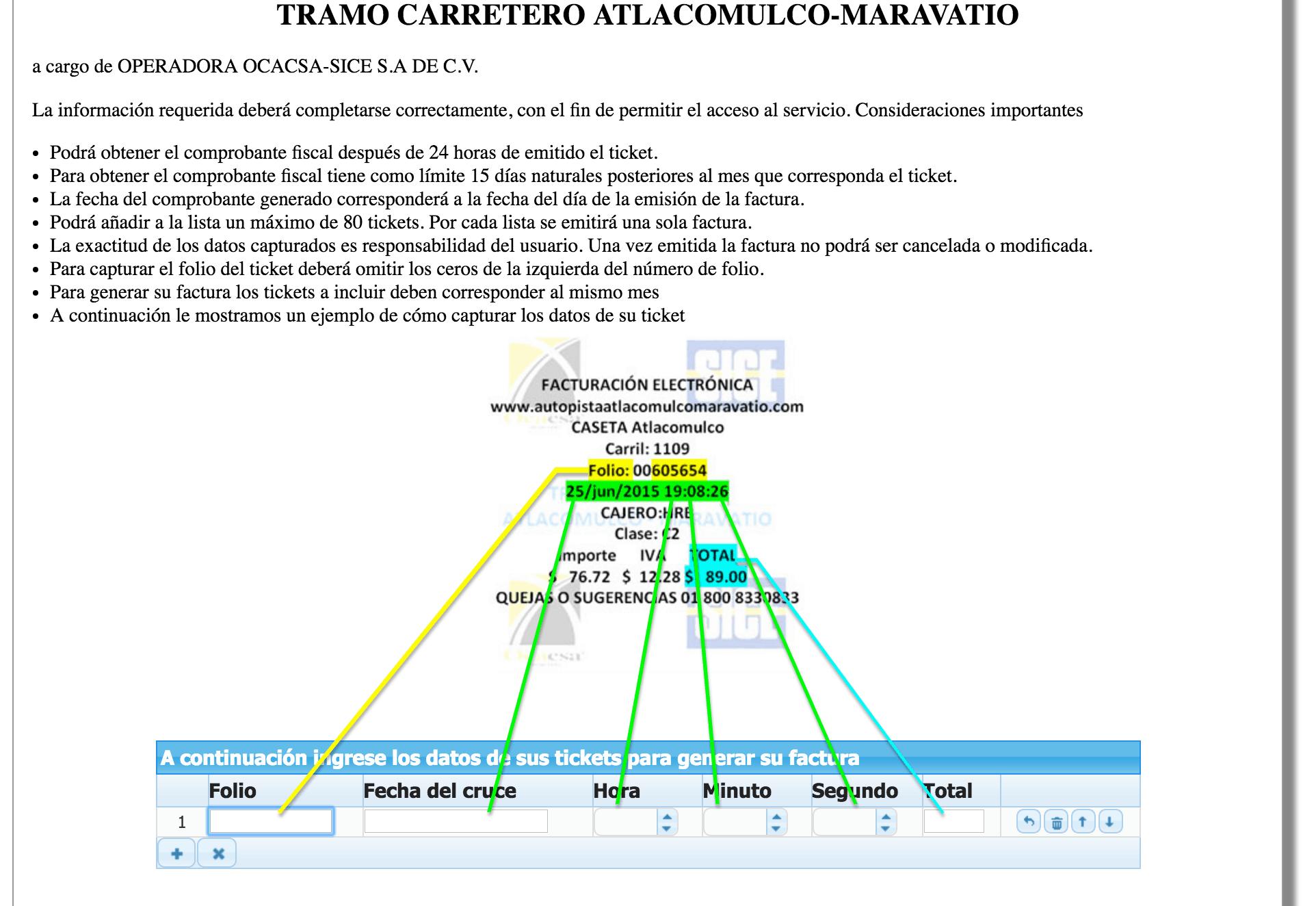 Autopista Atlacomulco – Maravatío  Paso 1 – Capture los datos de su ticket de peaje que requiere el sistema.