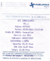 Autopista Guadalajara – Tepic Paso 1  Captura de datos de compra