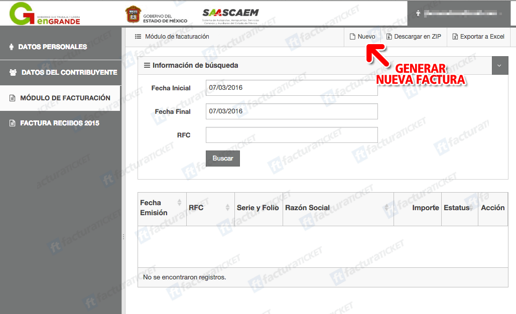 Autopista México – Tuxpan Paso 3  Capture datos del ticket.