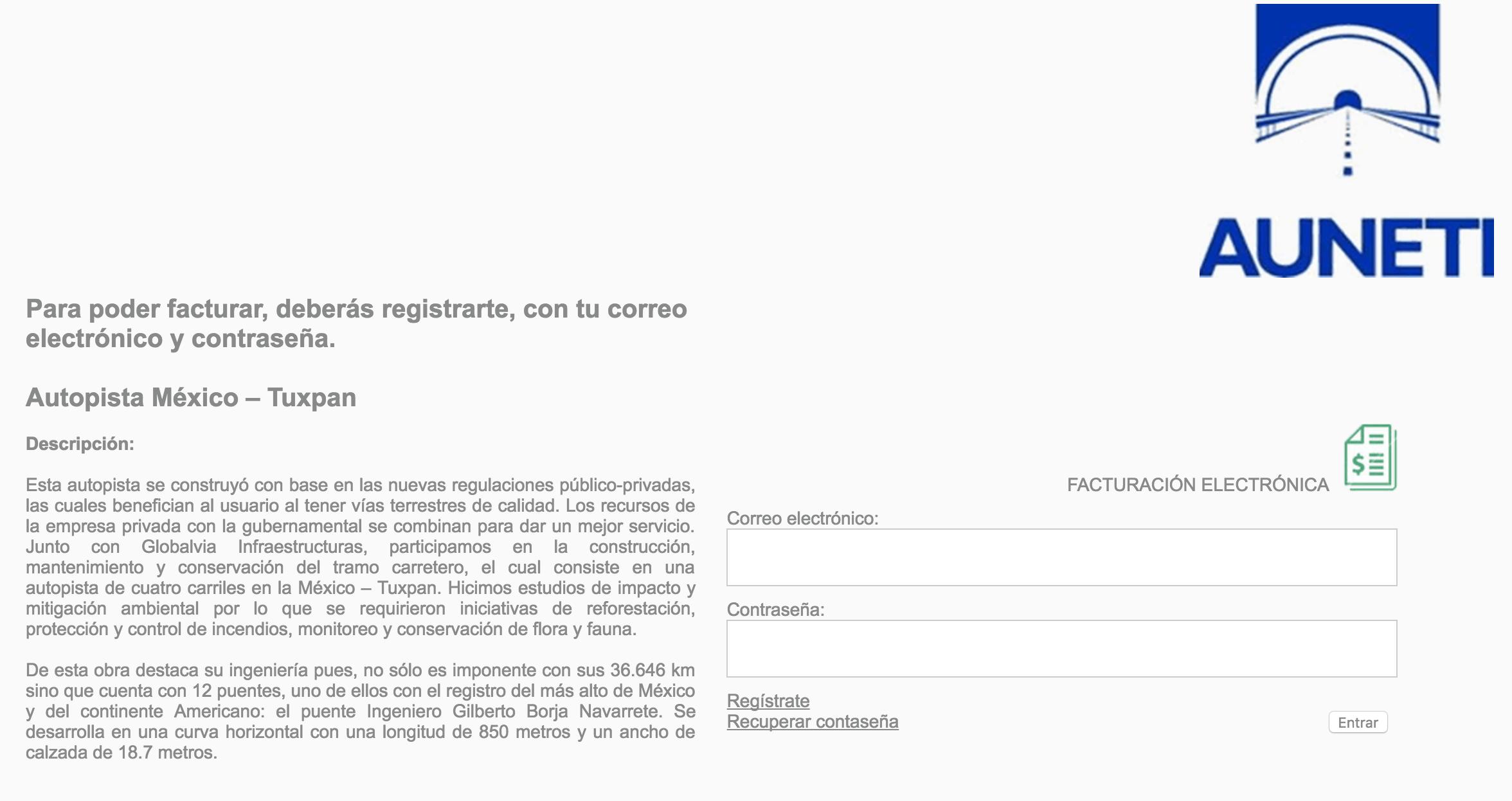 Autopista México – Tuxpan Paso 1  Regístrese en el sistema e ingrese con su nuevo usuario.