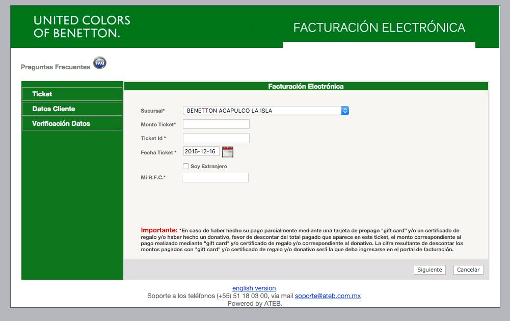 Benetton  Paso 1 – Capture los datos de su Ticket.