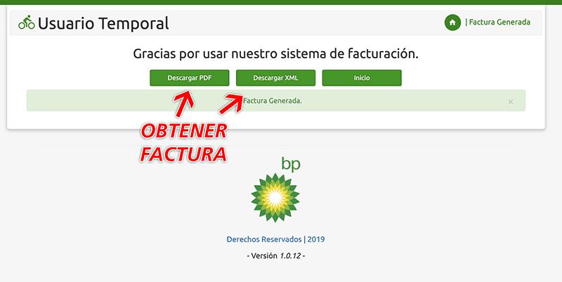 BP Gasolineras Paso 3  Obtención de factura