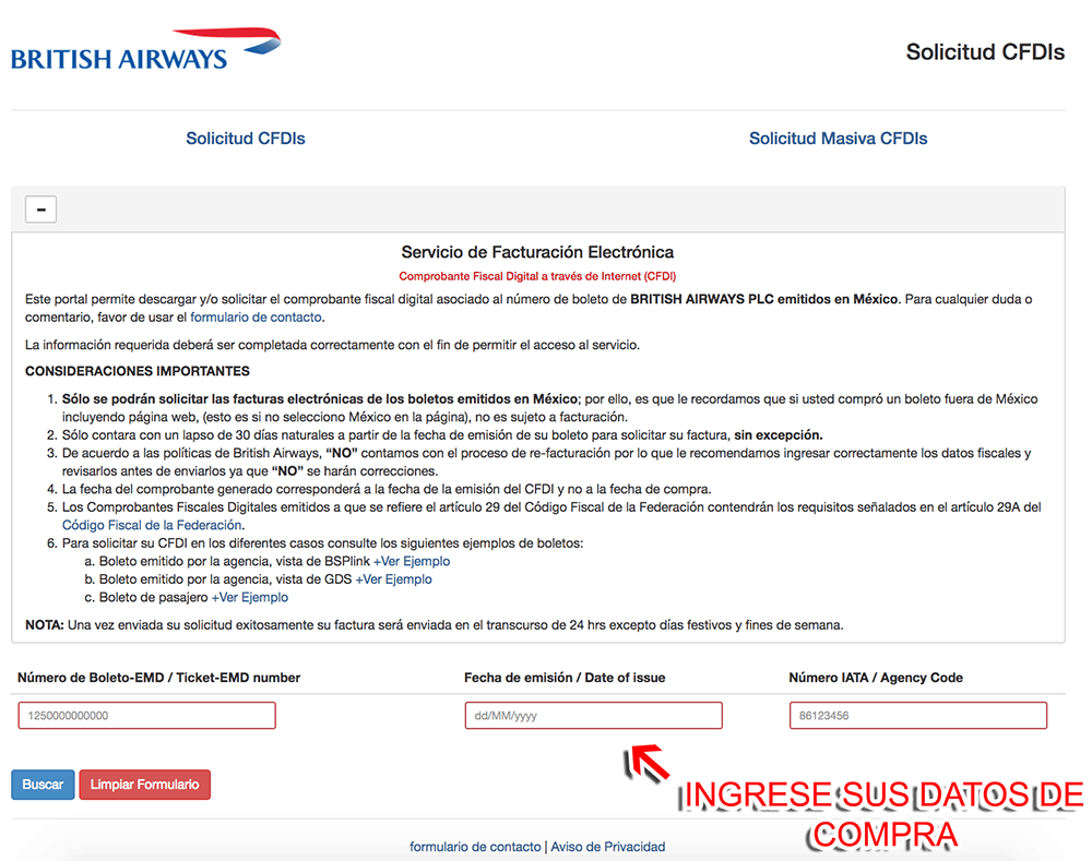 British Airways  Paso 1  Capture datos de compra