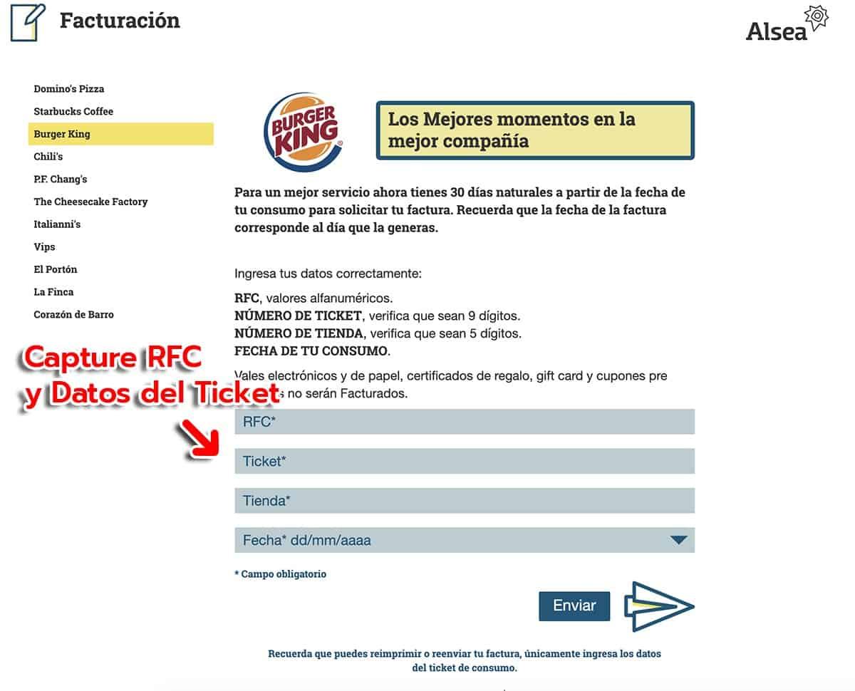 Burger King Paso 1  Capture Datos de Compra