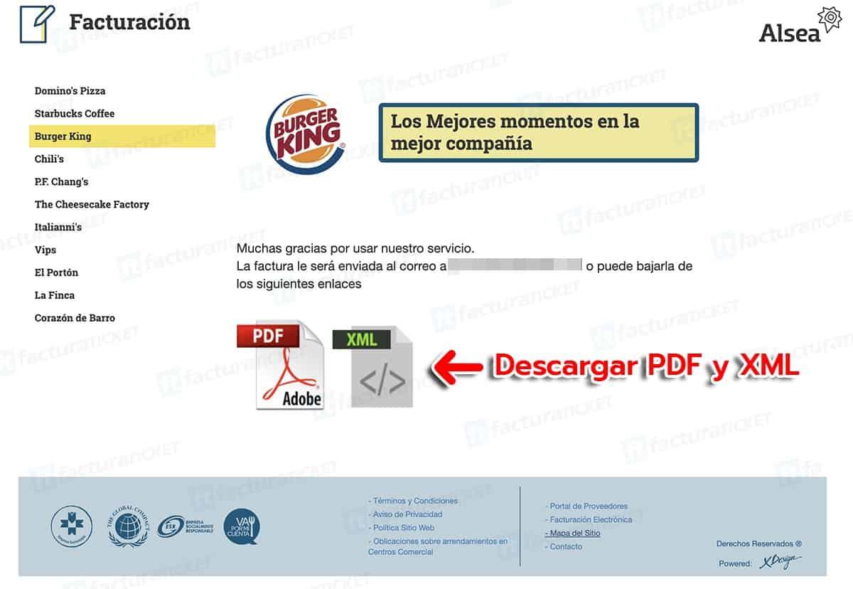 Burger King Paso 3  Obtención de factura