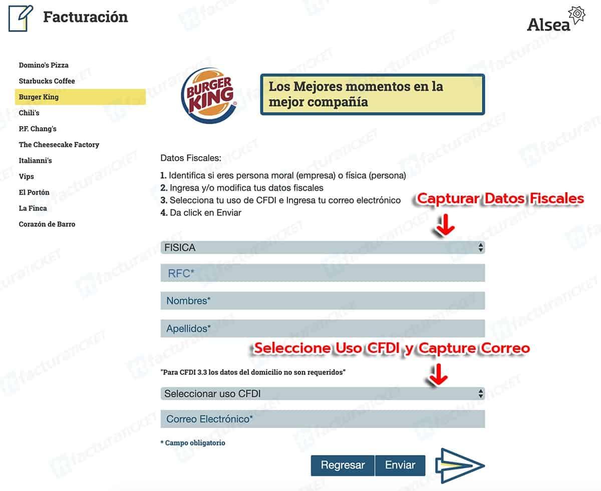 Burger King Paso 2  Capture Datos de RFC