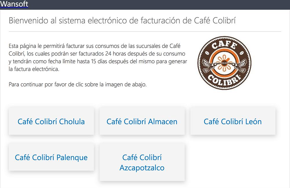 Café Colibrí Paso 1  Selección de Sucursal