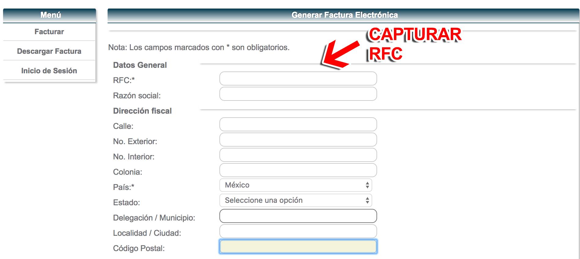 Cafebrería El Péndulo Paso 1  Capture la Clave del Ticket y su RFC.