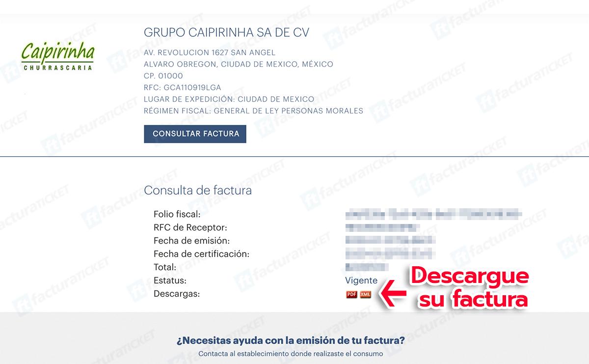 Caipirinha Paso 3  Descarga de factura