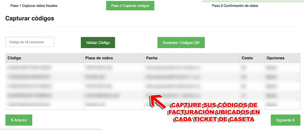 CAPUFE Fondo Nacional de Infraestructura (18 Dígitos) Paso 2  Captura de datos de ticket