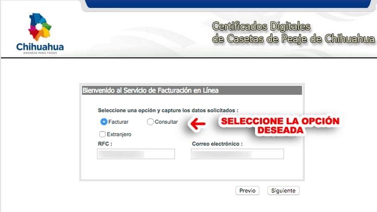 Casetas Chihuahua Paso 1  Selección de configuración para factura
