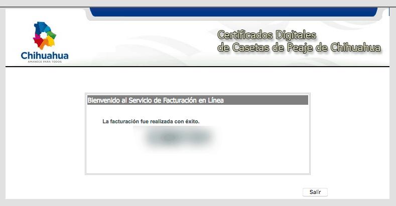Casetas Chihuahua Paso 3  Confirmación de factura
