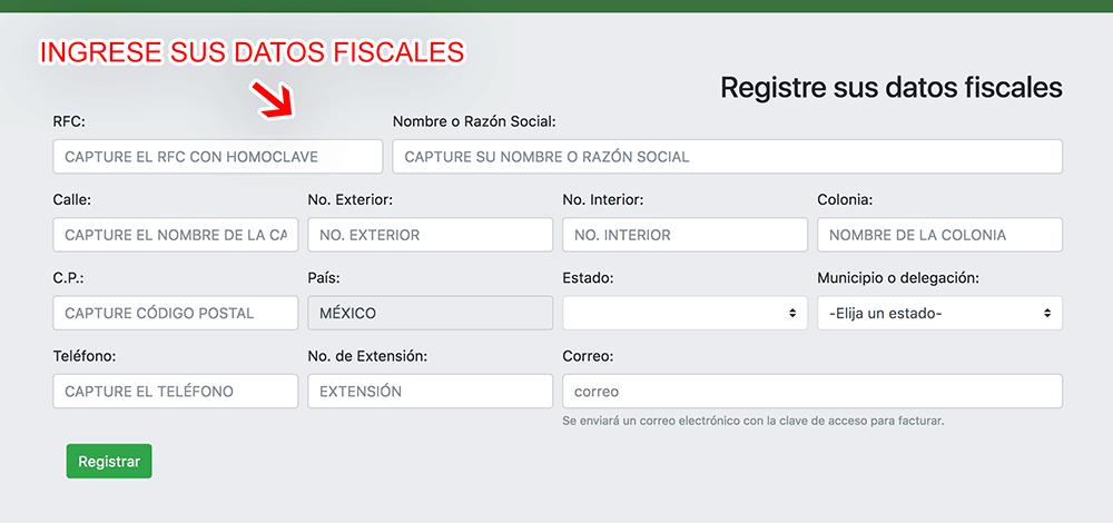 Central del Norte Paso 1  Registro en el sistema