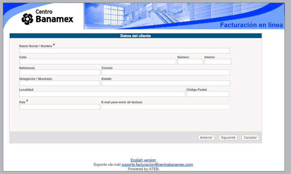 Centro Banamex  Paso 3 – Capturar Datos Fiscales.