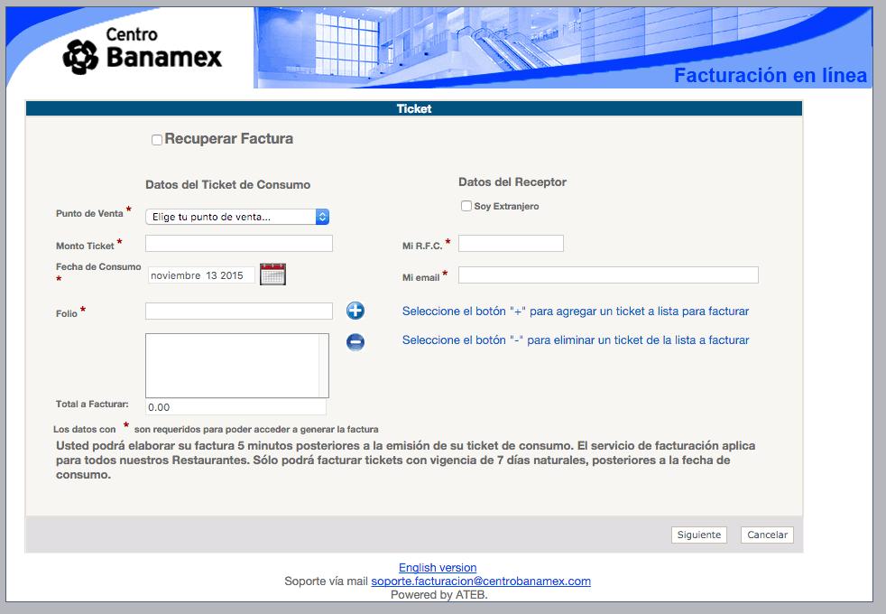Centro Banamex Paso 2 –Ingrese al Sistema y Capture sus Datos Fiscales y un Correo
