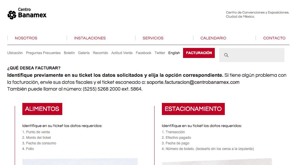 Centro Banamex  Paso 1 – Seleccione el tipo de ticket a facturar.