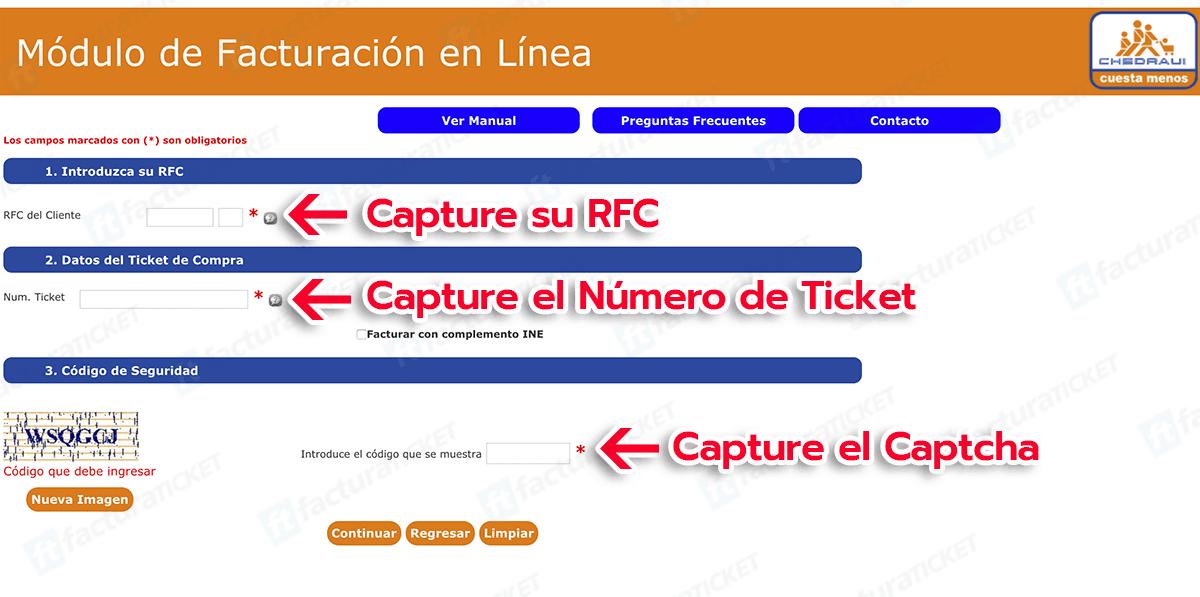 Chedraui Paso 1  Capture su RFC y los datos del Ticket