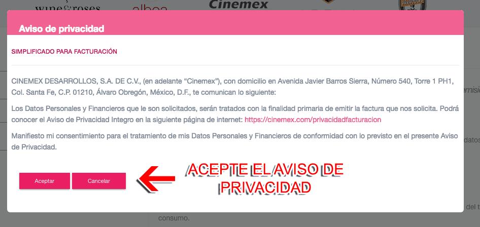 Cinemex Paso 1  Capture Datos del Ticket
