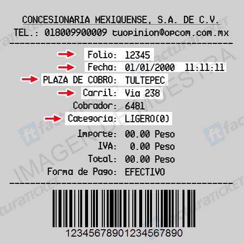 Circuito Mexiquense Paso 2  Capture de datos de ticket