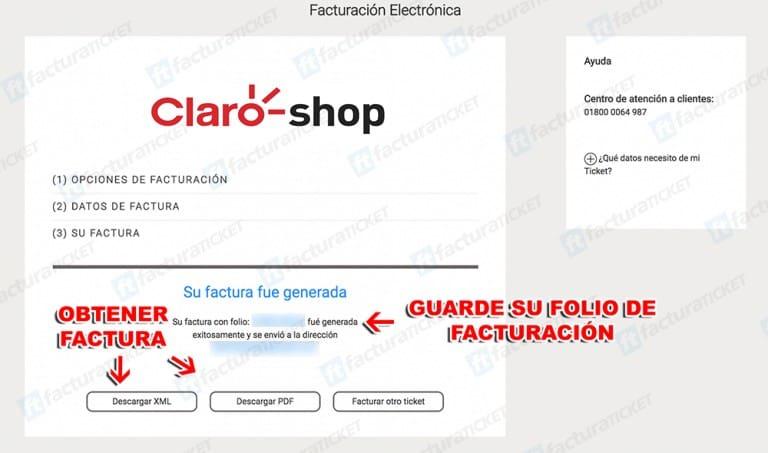 Claro Shop Paso 3  Descargar Factura.