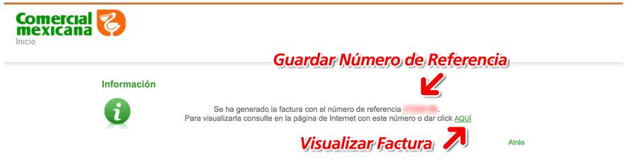 Comercial Mexicana Paso 3  Ver y Descargar Factura