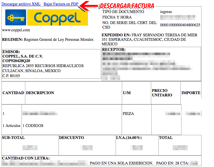 Coppel Paso 3Visualiza y Descarga PDF y XML