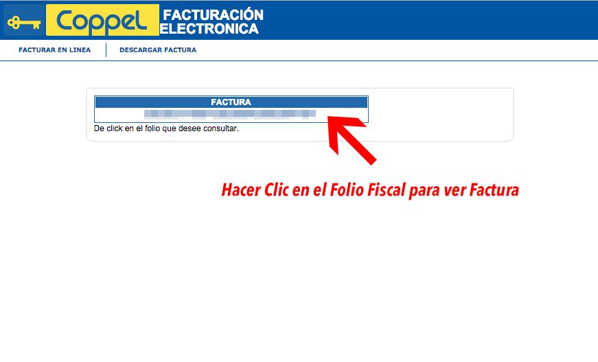 Coppel Paso 2Elige el Folio Fiscal de la Factura a Descargar
