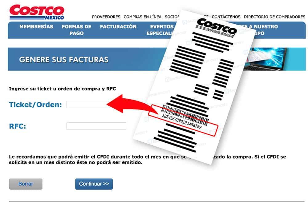 Costco Paso 1  Capture los Datos del Ticket