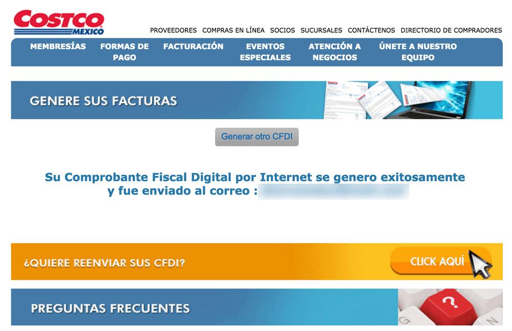 Costco Paso 3  Reciba su Factura en Correo Electrónico y te muestra la PDF.