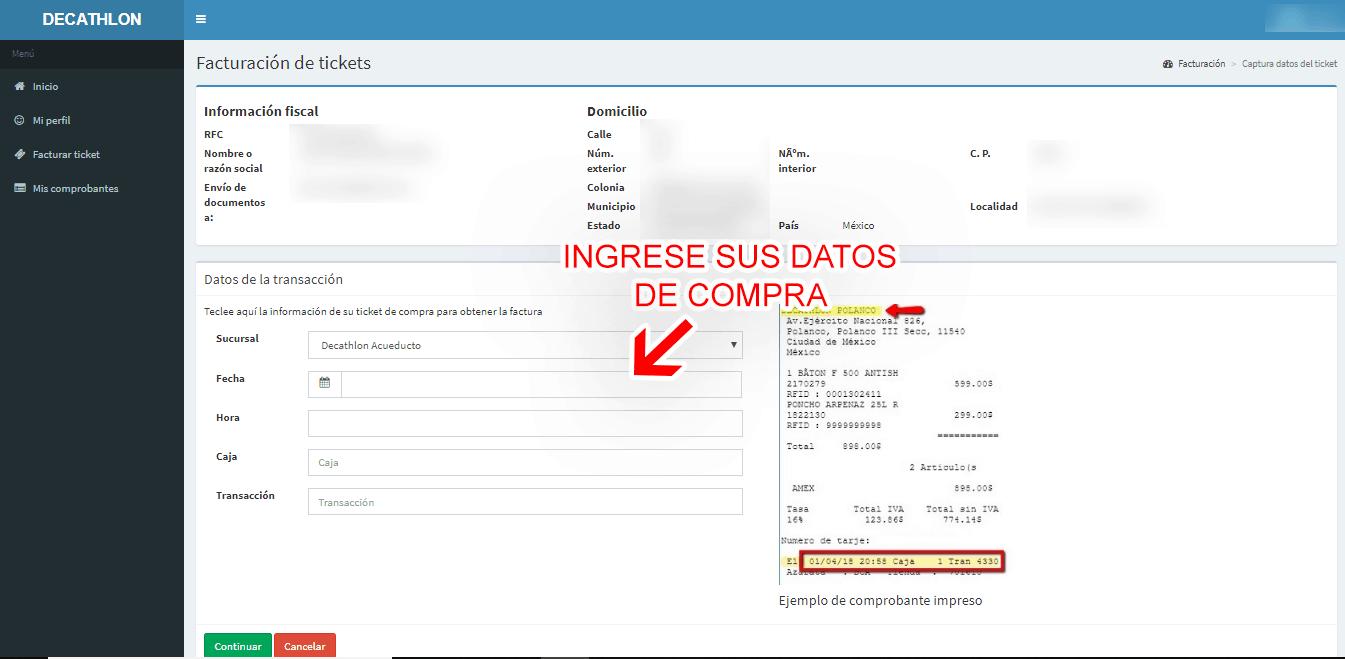DECATHLON Paso 3  Captura de datos de compra
