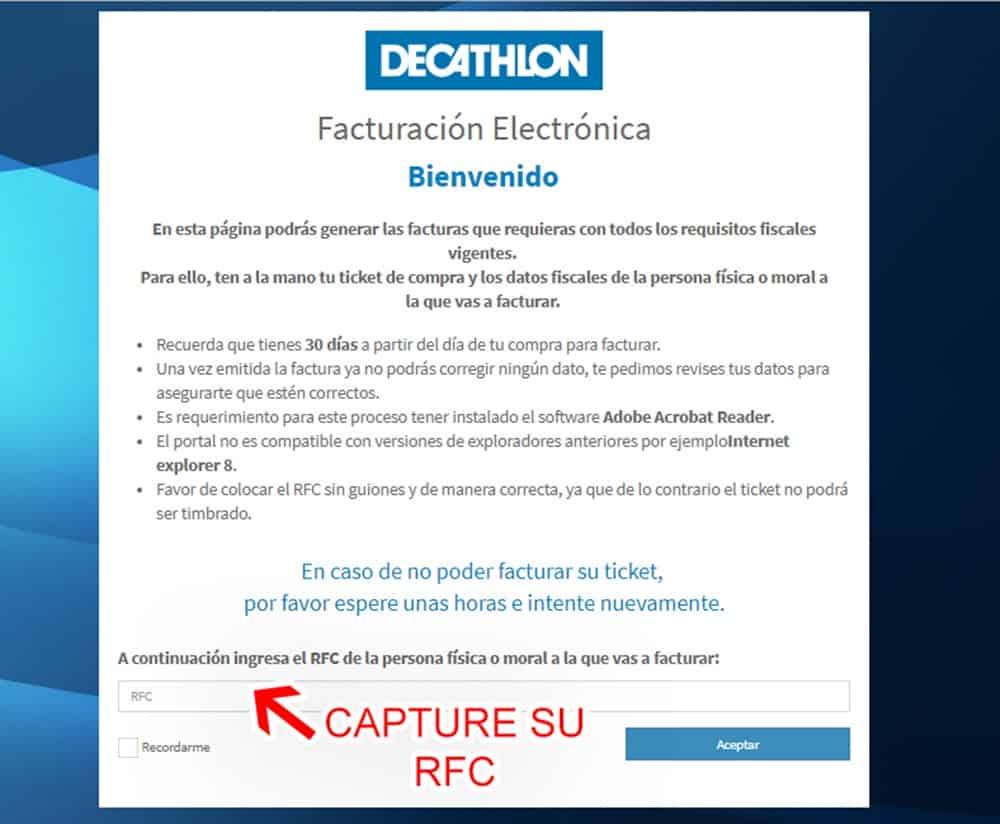 DECATHLON Paso 1  Captura de RFC
