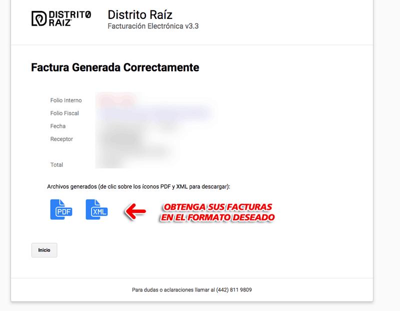 Distrito Raíz Paso 3  Confirmación de factura
