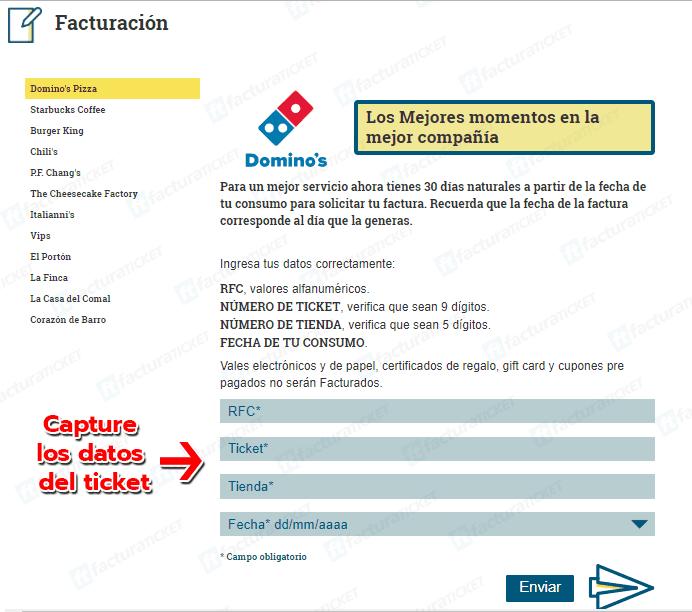 Dominos Paso 1  Ingresar datos de ticket de compra.
