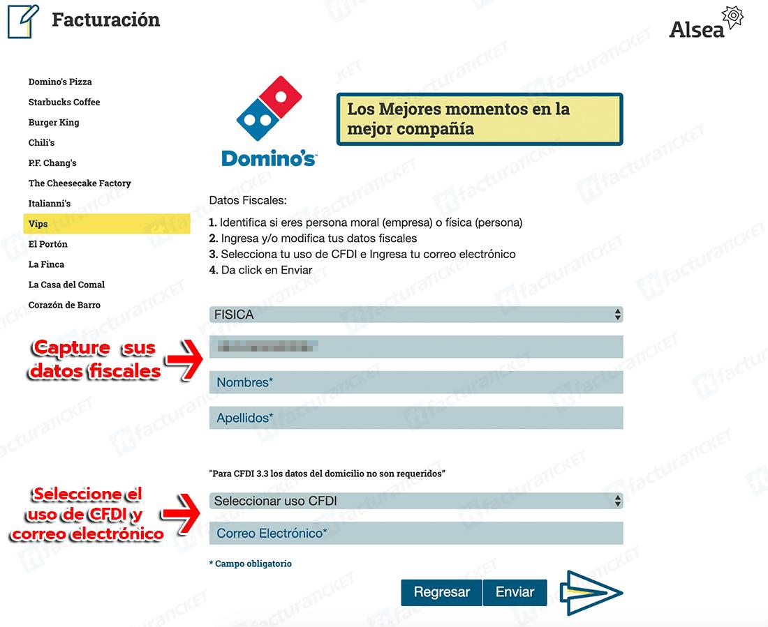 Dominos Paso 2  Capture Datos de RFC
