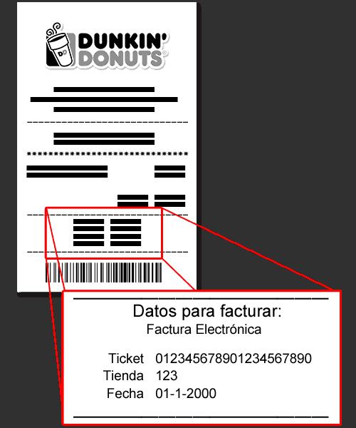 Dunkin' Donuts Paso 1  Ingresar datos de ticket de compra.