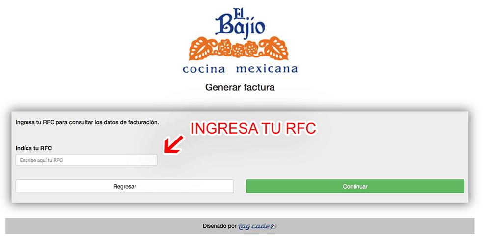 El Bajío Paso 2  Capture Datos del RFC y Correo Electrónico