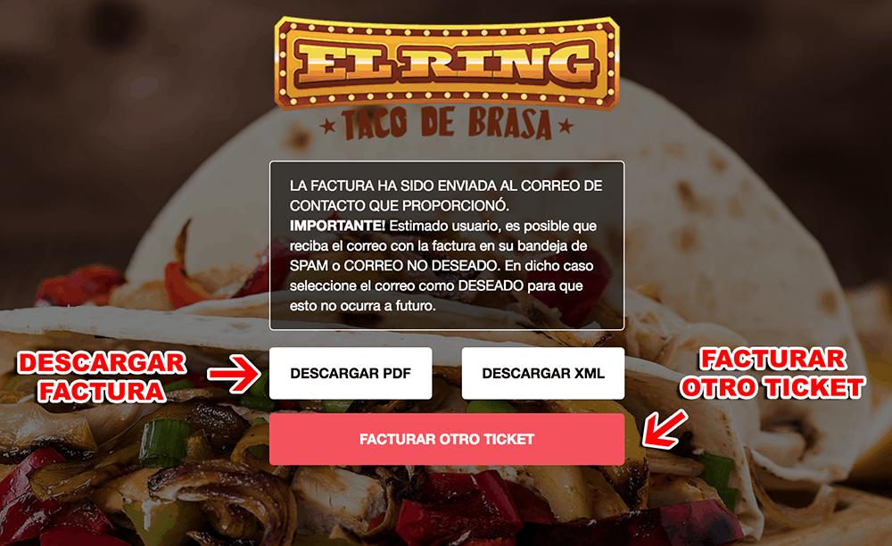 El Ring Tacos Paso 3  Confirmación desu factura.