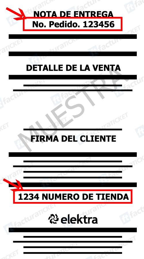 Elektra Paso 1  Ingresar datos de ticket de compra.