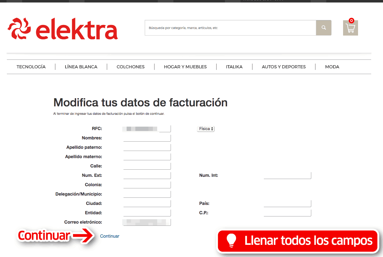 Elektra Paso 2  Capture Datos de RFC