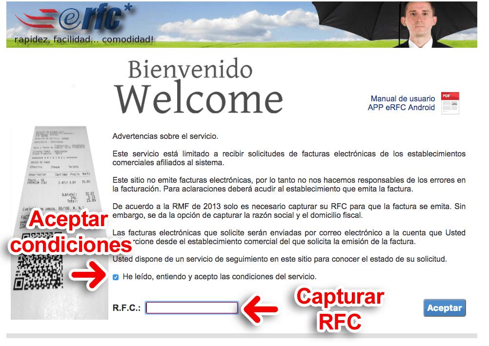 eRFC (Gasolineras) Paso 1  Ingresar con RFC y Aceptar condiciones del servicio.