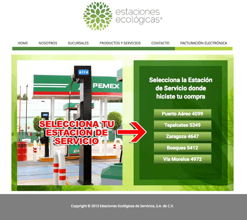 Estaciones Ecológicas Paso 1  Selección de Estación de Servicio